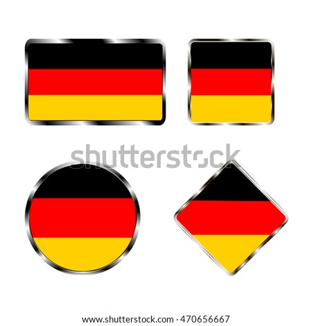 Abstract vector illustration of logo for the flag of the country Germany closeup on white background.Germany drawing consisting of set tag,label,map,sign,continent,geography,europe,republic,patriot.