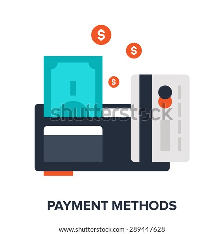 Abstract vector illustration of payment methods flat design concept. - stock vector
