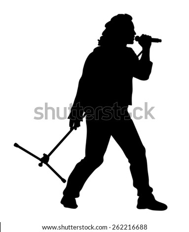 Abstract vector illustration of rock singer silhouette - stock vector