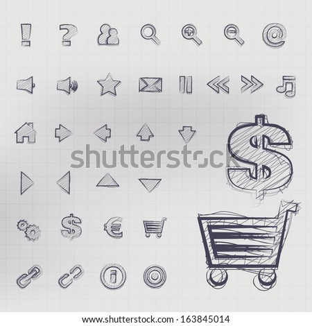 Abstract vector, illustration of sketched business icons in blue ink - stock vector
