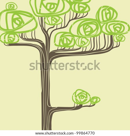 Abstract vector illustration of stylized green tree. - stock vector