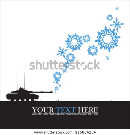 Abstract vector illustration of tank and snowflakes. - stock vector
