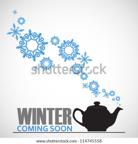 Abstract vector illustration of teapot and snowflakes. - stock vector