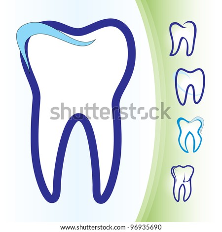 Abstract Vector illustration of teeth as icons - stock vector