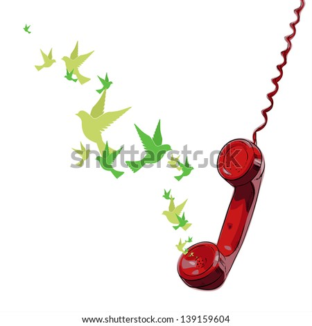 Abstract vector illustration of telephone and birds. - stock vector