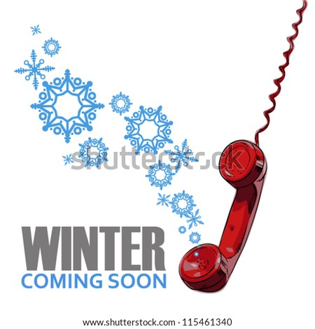 Abstract vector illustration of telephone and snowflakes. - stock vector