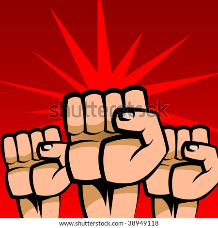 Abstract vector illustration of three raised fists