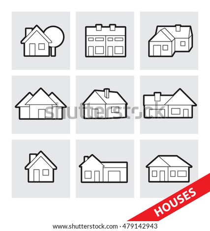 Abstract vector illustration of vector houses