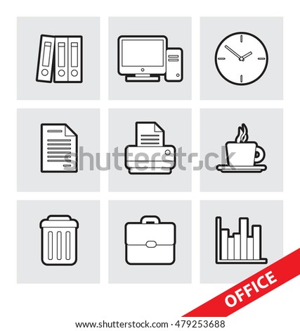 Abstract vector illustration of vector Office Symbols