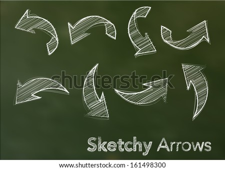 Abstract vector illustration of white sketchy arrows on a green blackboard - stock vector