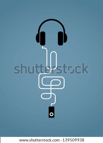 Abstract vector illustration on music theme with mp3 player, headphones and treble clef - stock vector