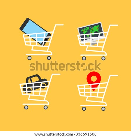 Abstract vector illustration shopping cart icon with map pointer, car icon, smartphone icon, computer flat design icon on a yellow background - stock vector