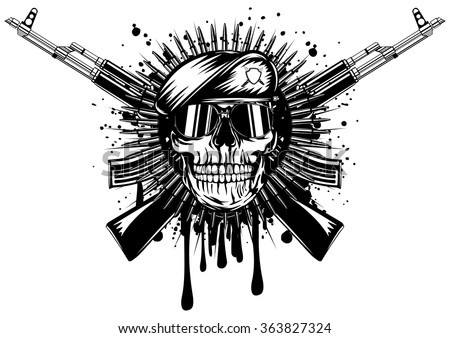 Abstract vector illustration skull in beret crossed assault rifle on grunge splash - stock vector