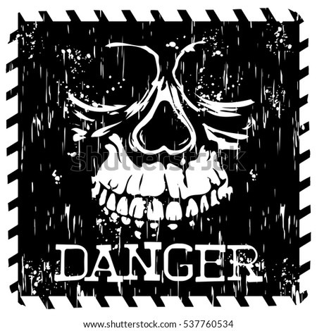 Abstract vector illustration square black and white symbol skull with lettering danger