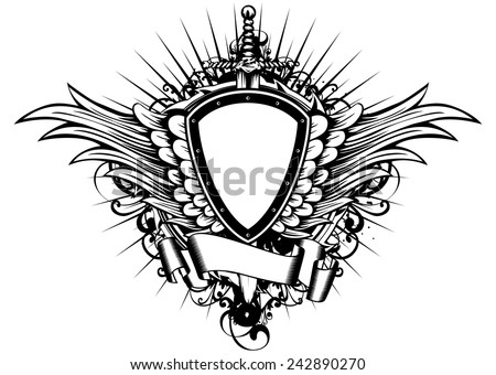Abstract vector illustration sword board and wings - stock vector