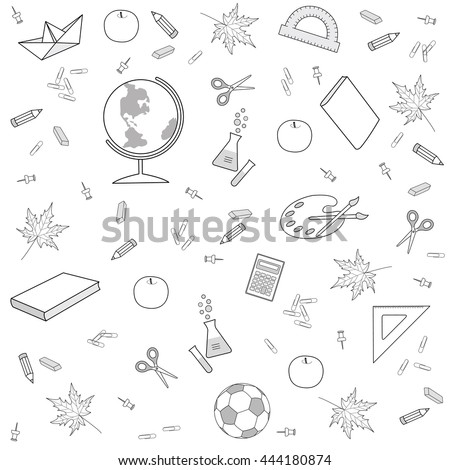 Abstract vector illustration. The pattern with the image of items for school.