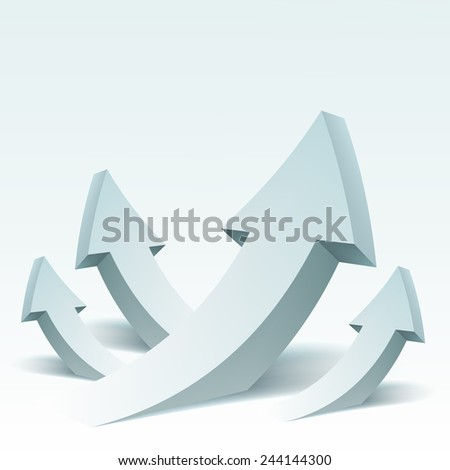 Abstract vector Illustration with arrows and place for text. Background design for banner, flyer, cover, poster, brochure. Concept of success. Logo design. - stock vector
