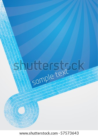 Abstract vector illustration with blue lines and gradient background with sunburst effect
