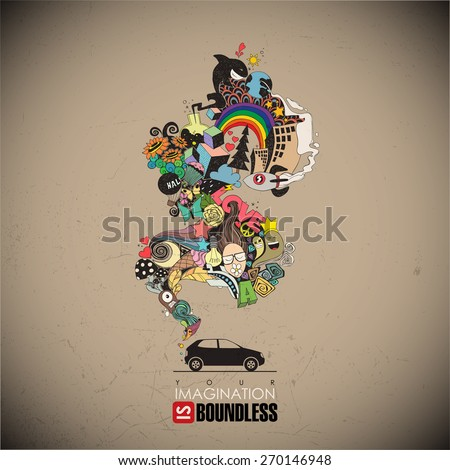 Abstract vector illustration with car and magic smoke. - stock vector