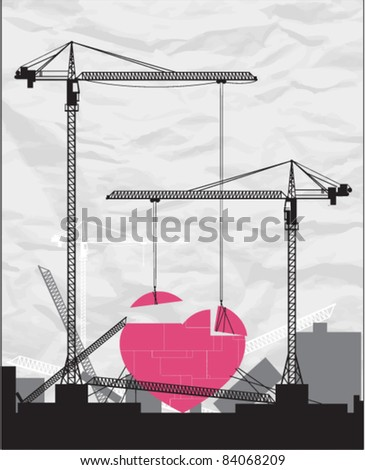 Abstract vector illustration with cranes and heart. - stock vector
