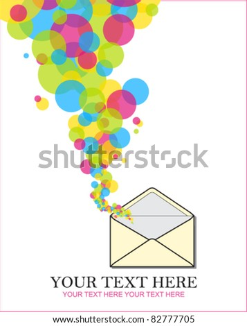 Abstract vector illustration with envelope and balloons. Place for your text.