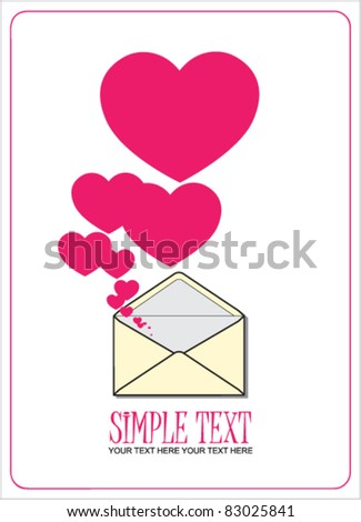 Abstract vector illustration with envelope and hearts. Place for your text.