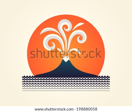 Abstract vector illustration with erupting volcano, sun and sea.  - stock vector