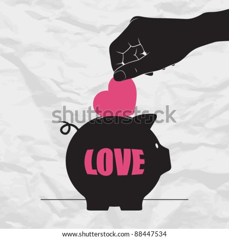 Abstract vector illustration with piggy bank and heart. - stock vector