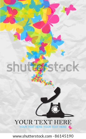 Abstract vector illustration with retro telephone and butterflies. Place for your text. - stock vector