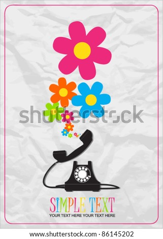 Abstract vector illustration with retro telephone and flowers. Place for your text. - stock vector