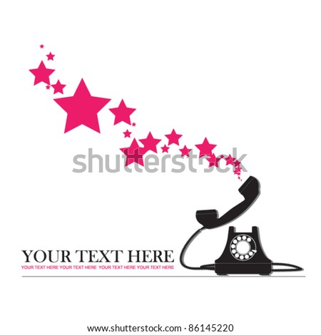Abstract vector illustration with retro telephone and stars. Place for your text. - stock vector