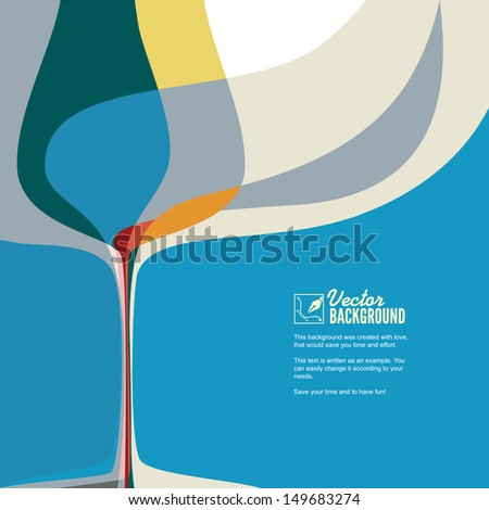 Abstract vector illustration with silhouette of wine glass. - stock vector