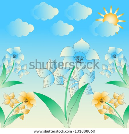 abstract vector illustration with spring flowers - stock vector