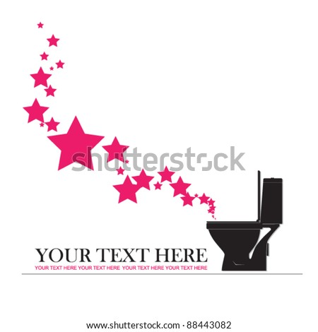 Abstract vector illustration with toilet bowl and stars. - stock vector