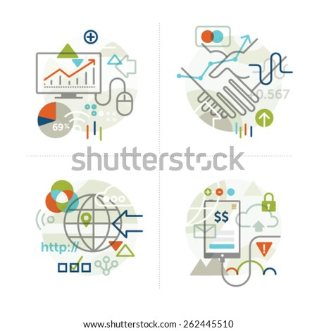 Abstract vector illustrations of business technology concepts. Elements for print, mobile and web applications. - stock vector