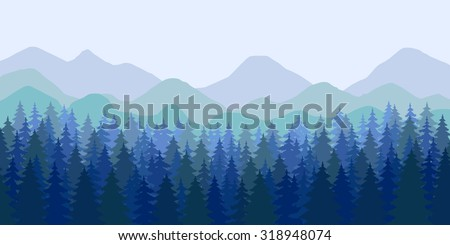 Abstract vector image of multi ridge and evergreen forest in the foreground. Illustrations in dark blue colors. - stock vector