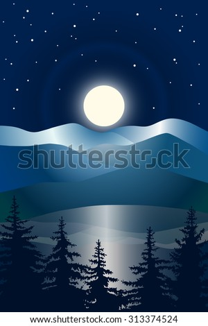 Abstract vector image of the night sky, the bright moon with a halo over the hills and pine forests in the foreground. Moonlight with reflection of mountains in water. Starry night in the mountains