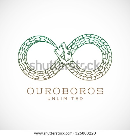 Abstract Vector Infinite Ouroboros Snake Symbol, Sign or a Logo Template in Line Style. Isolated. - stock vector