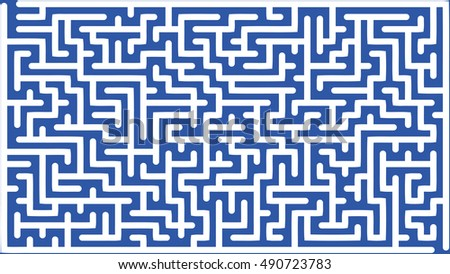 Abstract vector labyrinth of medium complexity against blue