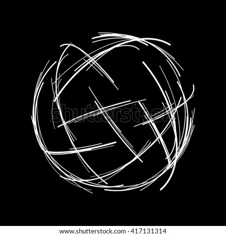 Abstract vector lines. Sketch technology illustration. Modern digital sphere black background. Crossing connection stripe. - stock vector