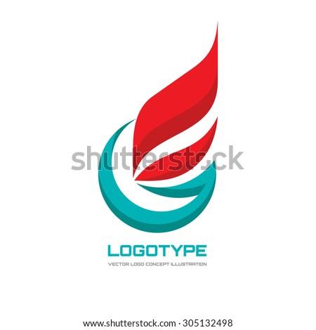 Abstract vector logo concept illustration. Flag business logo. Letter G logo. Flame logo. Fire logo. Gas logo. Vector logo template. Design element.  - stock vector
