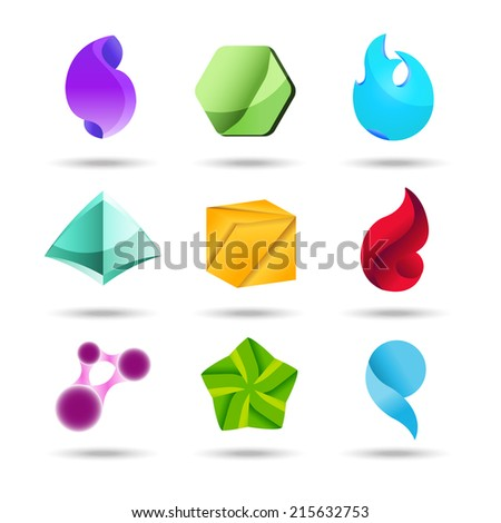 Abstract vector logo design set template with business card
