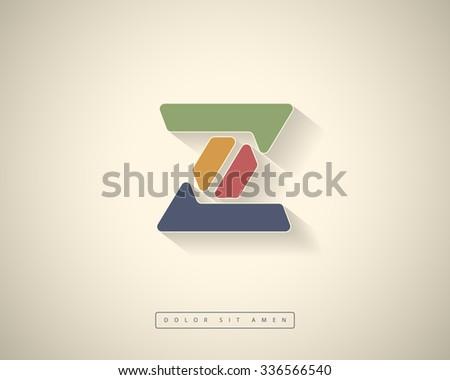 Abstract Vector Logo Design Template. Creative Color Concept Icon. Letter Z Stylization  - stock vector