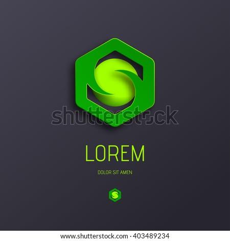 Abstract Vector Logo Design Template. Creative Color Logotype Concept Icon. Letter S Logo Stylization. Combination Hexagon and Sphere for Logo. Ecology Icon. - stock vector