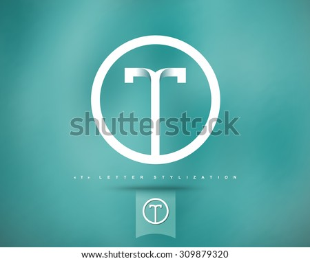 Abstract Vector Logo Design Template. Creative Concept Round Icon. Letter T Stylization  - stock vector