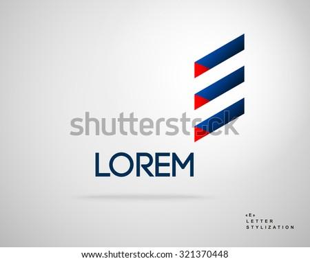 Abstract Vector Logo Design Template. Creative 3d Concept Icon. Letter E Stylized - stock vector