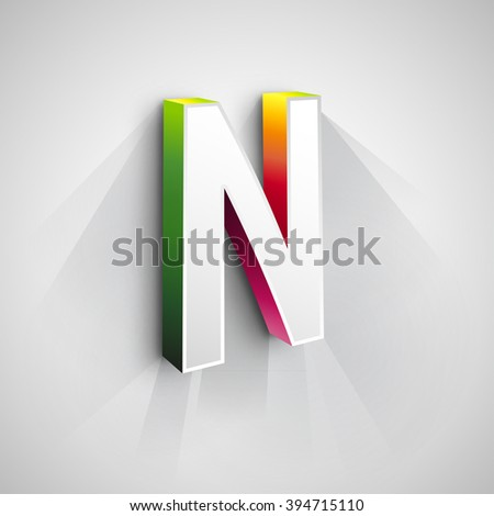 Abstract Vector Logo Design Template. Creative 3d Concept Icon. Letter N Stylization  - stock vector