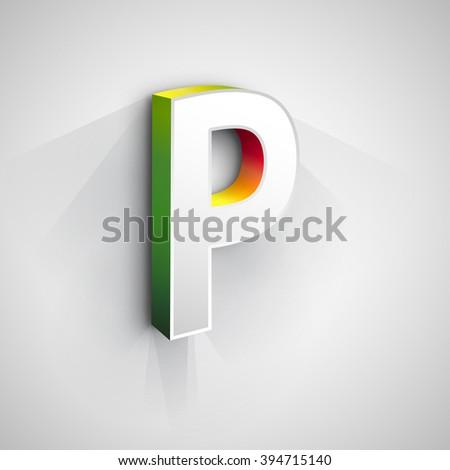 Abstract Vector Logo Design Template. Creative 3d Concept Icon. Letter P Stylization  - stock vector