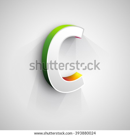 Abstract Vector Logo Design Template. Creative 3d Concept Icon. LetterC Stylization