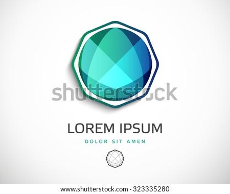 Abstract Vector Logo Design Template. Creative Diamond Concept Icon - stock vector